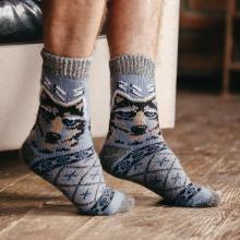 Мужские шерстяные носки (Бабушкины носки) СЕРО-ГОЛУБЫЕ