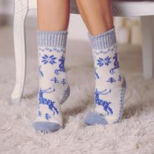 Женские шерстяные носки (Бабушкины носки) БЕЛО-ГОЛУБЫЕ