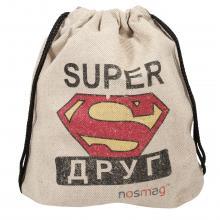 Льняной мешок с принтом «SUPER друг»