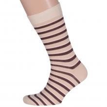 Мужские носки LORENZline БЕЖЕВЫЕ, равномерные полосы