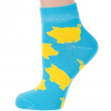 Женские укороченные носки Челны текстиль БИРЮЗОВЫЕ