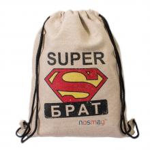 Льняной мешок с принтом  SUPER брат