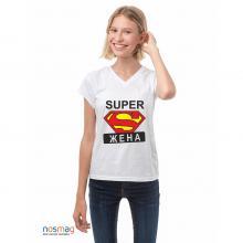 Женская футболка с рисунком Супержена БЕЛАЯ