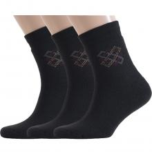 Комплект из 3 пар мужских махровых носков ХОХ ЧЕРНЫЕ