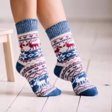 Женские шерстяные носки (Бабушкины носки) СИНИЕ