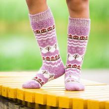 Детские шерстяные гольфы (Бабушкины носки) РОЗОВЫЕ