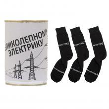 Носки в банке  Трио  с надписью  Великолепному электрику  ЧЕРНЫЕ