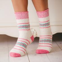 Женские шерстяные носки (Бабушкины носки) БЕЛО-РОЗОВЫЕ