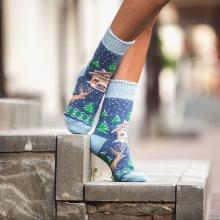Женские шерстяные носки (Бабушкины носки) ДЖИНСОВО-ГОЛУБЫЕ