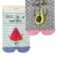 Комплект женских хлопковых носков EKMEN, 2 пары АВОКАДО/АРБУЗ