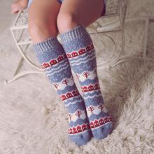 Детские шерстяные гольфы (Бабушкины носки) СЕРО-ГОЛУБЫЕ