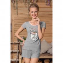 Комплект женский (футболка и шорты) NicClub СВЕТЛО-СЕРЫЙ
